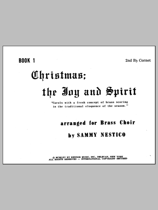 Nestico Christmas; The Joy & Spirit - Book 1/2nd Cornet sheet music notes and chords. Download Printable PDF.
