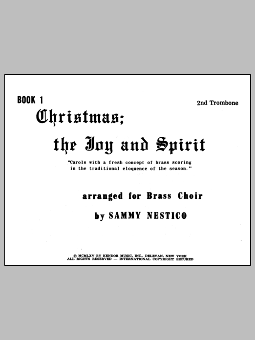 Nestico Christmas; The Joy & Spirit - Book 1/2nd Trombone sheet music notes and chords. Download Printable PDF.