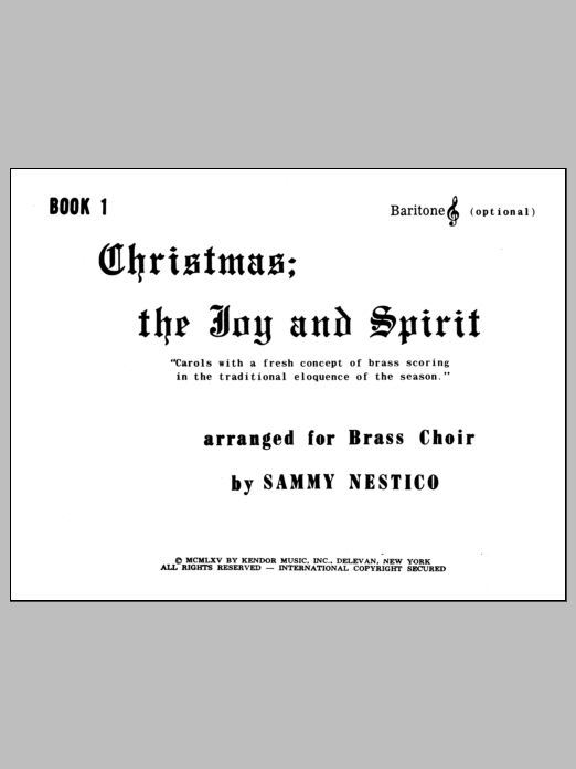 Nestico Christmas; The Joy & Spirit - Book 1/Baritone TC (opt.) sheet music notes and chords