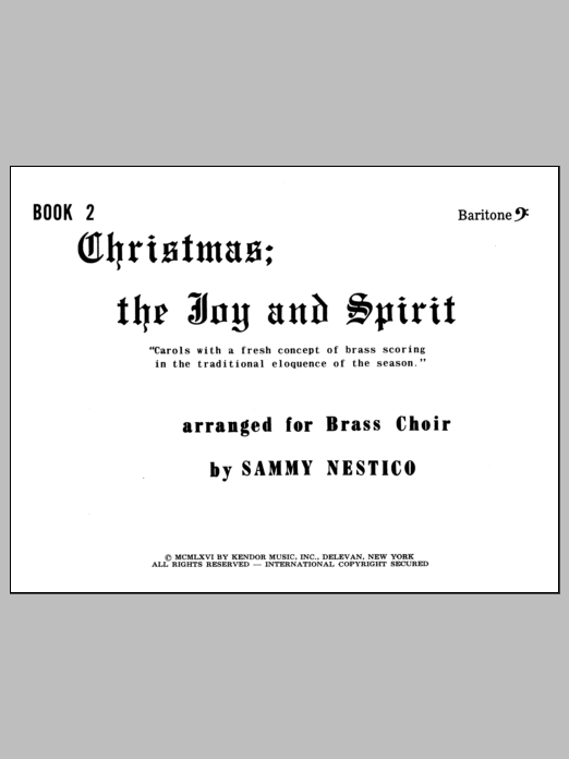 Nestico Christmas; The Joy & Spirit - Book 2/Baritone BC sheet music notes and chords. Download Printable PDF.