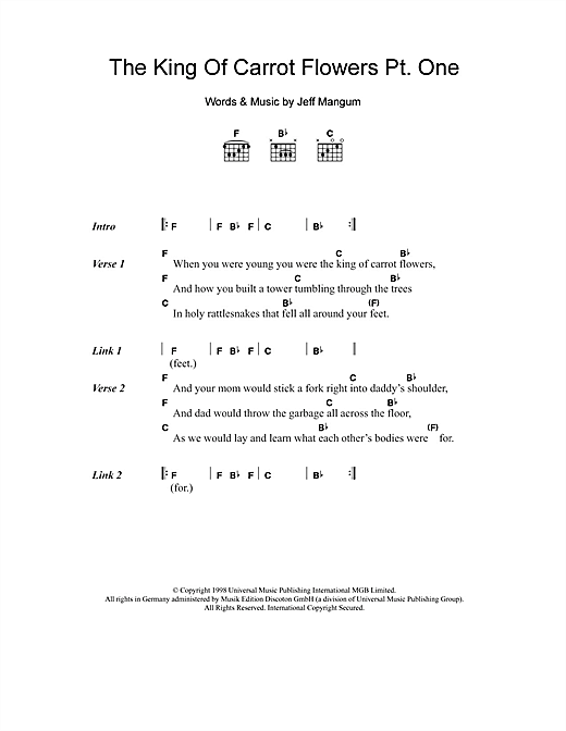Neutral Milk Hotel The King Of Carrot Flowers Pt. One sheet music notes and chords. Download Printable PDF.
