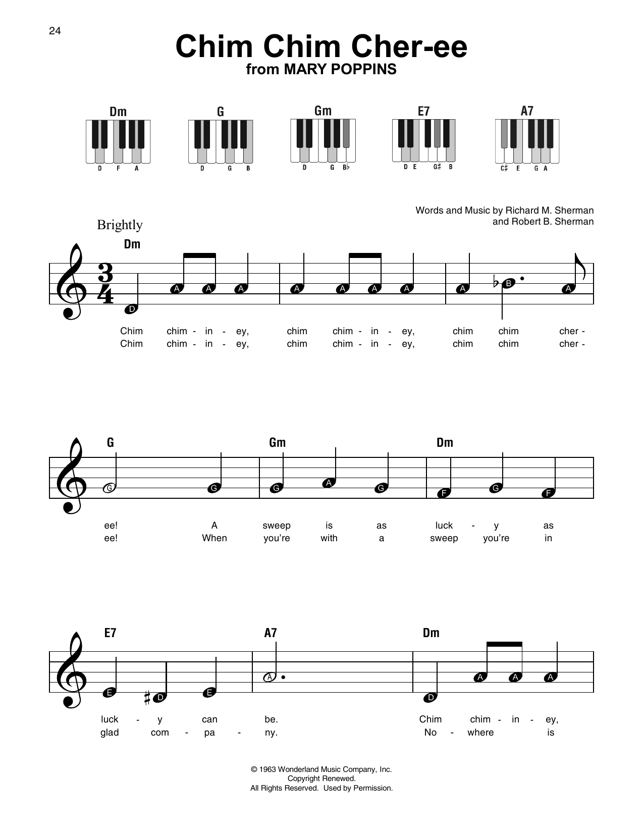 New Christy Minstrels Chim Chim Cher-ee sheet music notes and chords. Download Printable PDF.