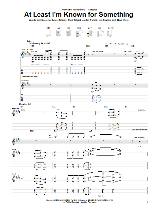 New Found Glory At Least I'm Known For Something sheet music notes and chords. Download Printable PDF.