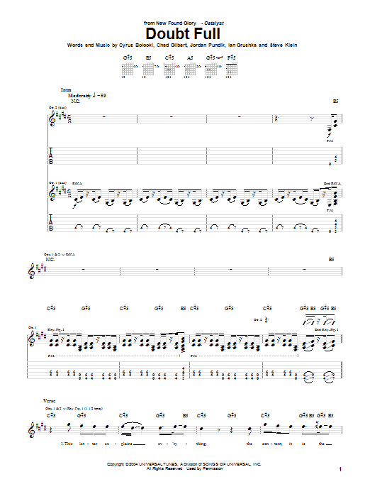 New Found Glory Doubt Full sheet music notes and chords. Download Printable PDF.