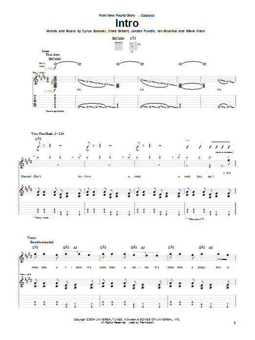 New Found Glory Intro sheet music notes and chords. Download Printable PDF.