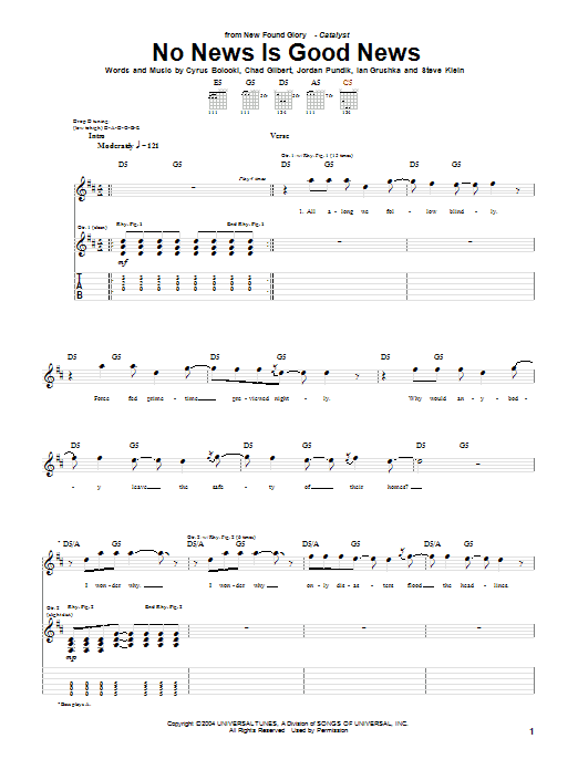 New Found Glory No News Is Good News sheet music notes and chords. Download Printable PDF.