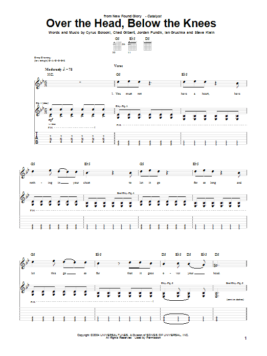 New Found Glory Over The Head, Below The Knees sheet music notes and chords. Download Printable PDF.
