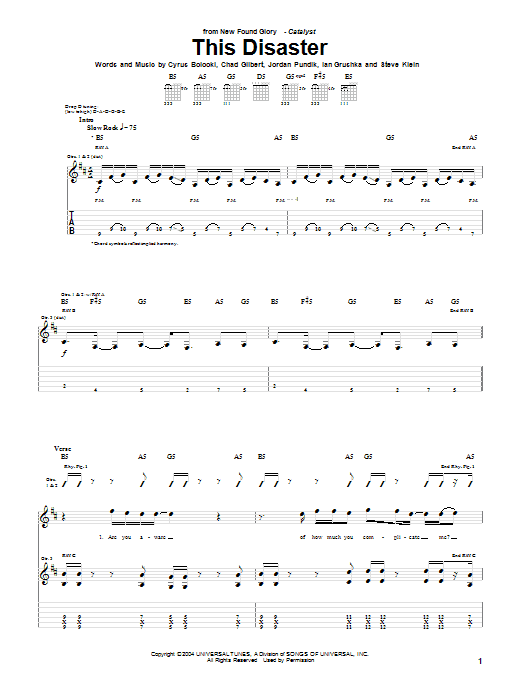 New Found Glory This Disaster sheet music notes and chords. Download Printable PDF.
