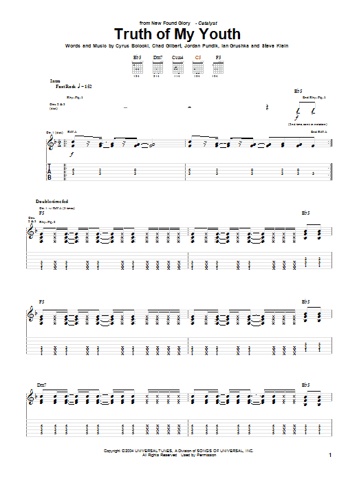 New Found Glory Truth Of My Youth sheet music notes and chords. Download Printable PDF.