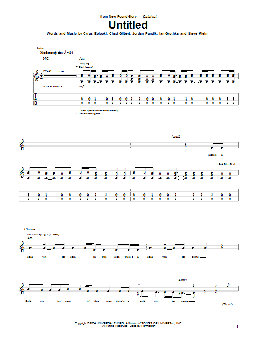 New Found Glory Untitled sheet music notes and chords. Download Printable PDF.