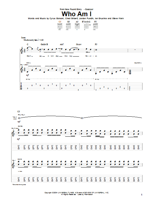 New Found Glory Who Am I sheet music notes and chords. Download Printable PDF.