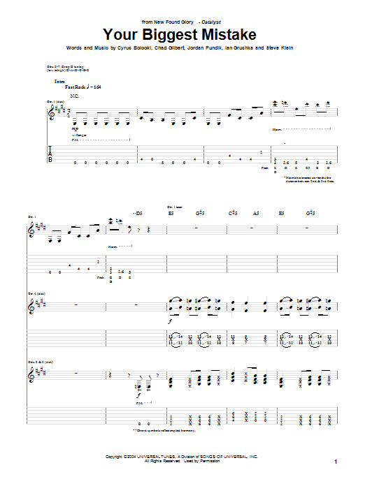 New Found Glory Your Biggest Mistake sheet music notes and chords. Download Printable PDF.
