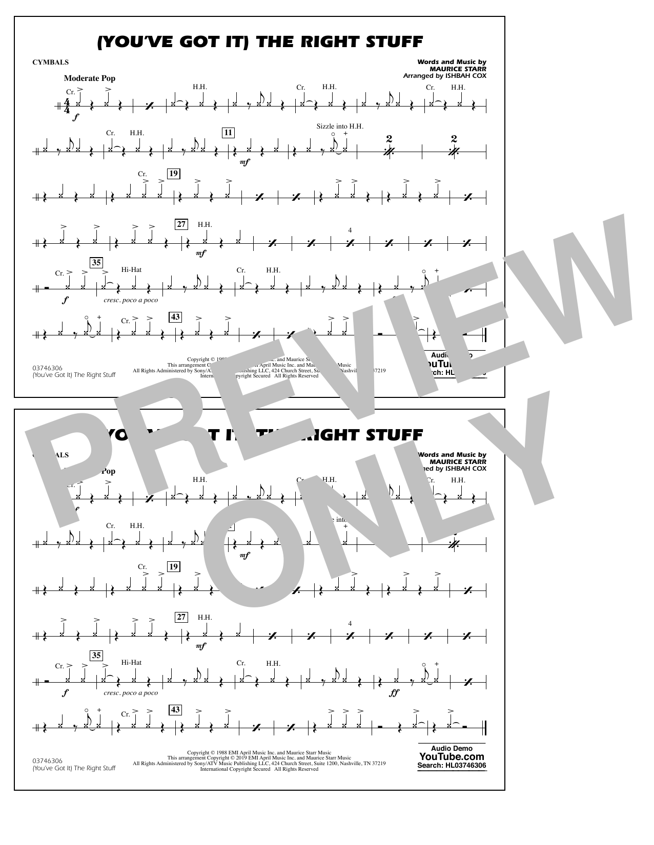 New Kids On The Block (You've Got It) The Right Stuff (arr. Ishbah Cox) - Cymbals sheet music notes and chords