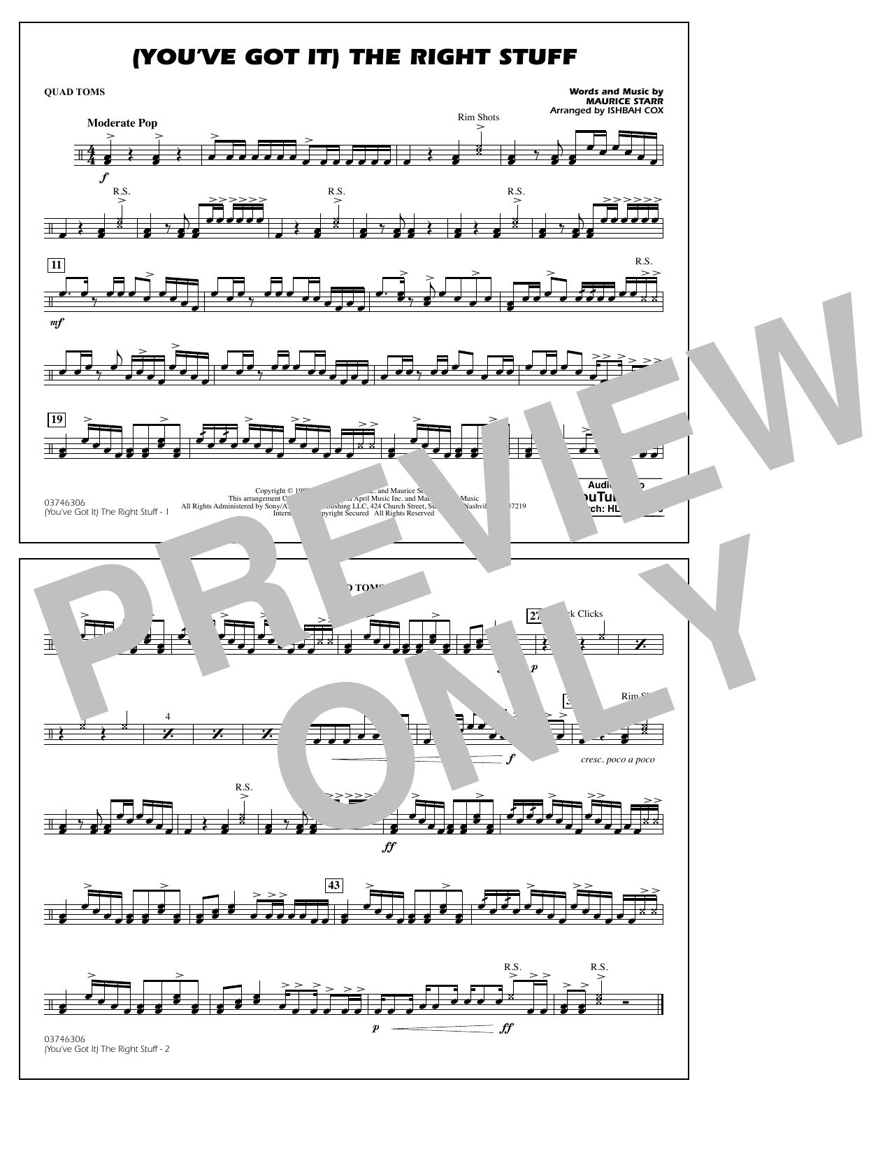 New Kids On The Block (You've Got It) The Right Stuff (arr. Ishbah Cox) - Quad Toms sheet music notes and chords