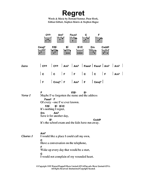 New Order Regret sheet music notes and chords