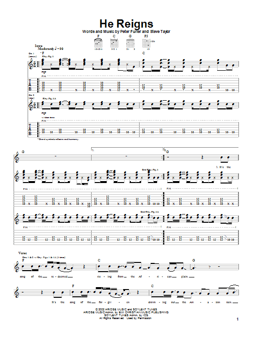 Newsboys He Reigns sheet music notes and chords. Download Printable PDF.