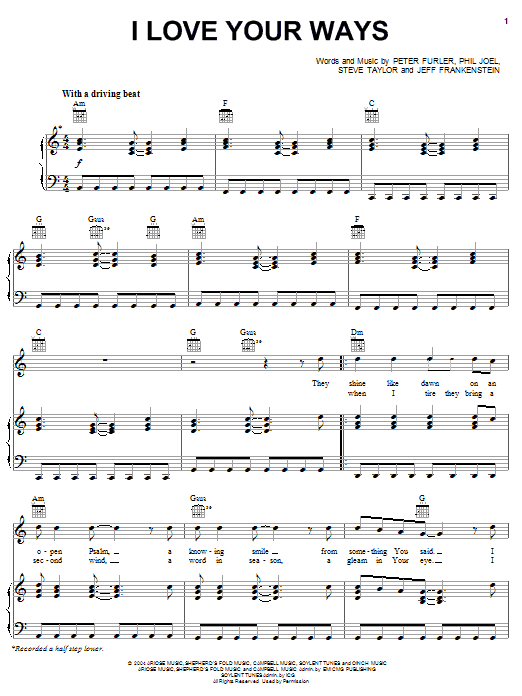 Newsboys I Love Your Ways sheet music notes and chords. Download Printable PDF.