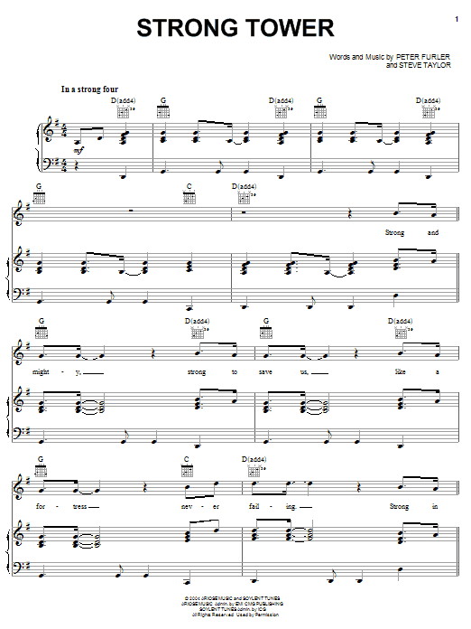 Newsboys Strong Tower sheet music notes and chords