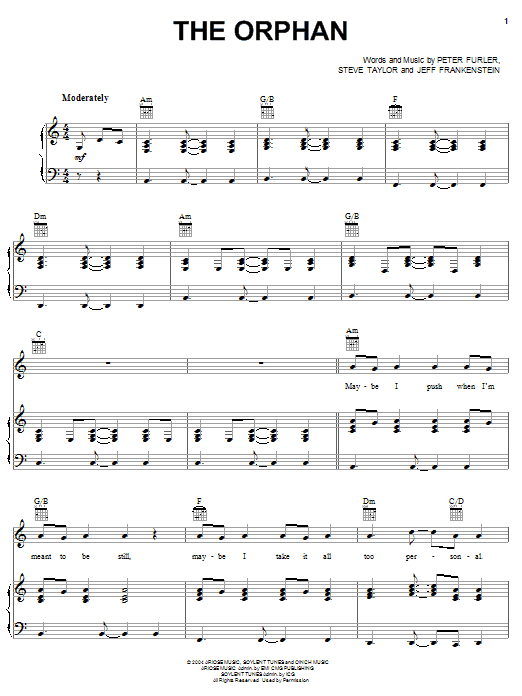 Newsboys The Orphan sheet music notes and chords. Download Printable PDF.