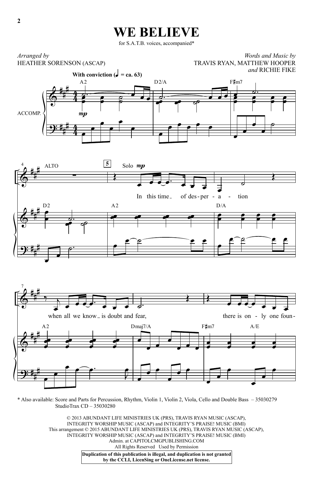 Newsboys We Believe (arr. Heather Sorenson) sheet music notes and chords. Download Printable PDF.