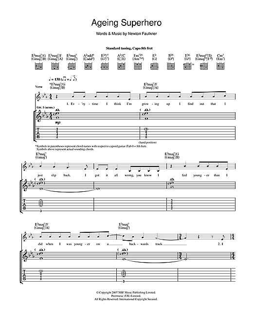 Newton Faulkner Ageing Superhero sheet music notes and chords