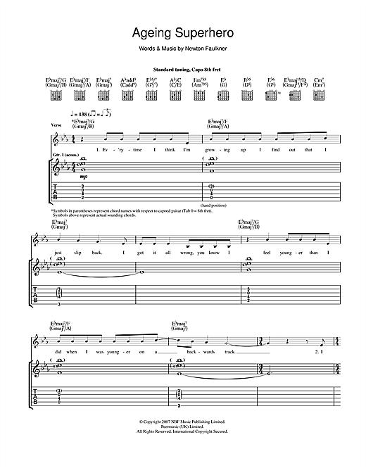 Newton Faulkner Ageing Superhero sheet music notes and chords. Download Printable PDF.