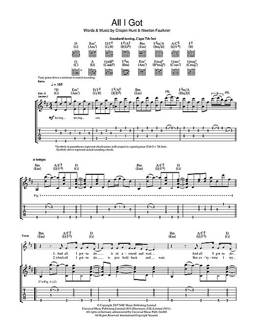 Newton Faulkner All I Got sheet music notes and chords