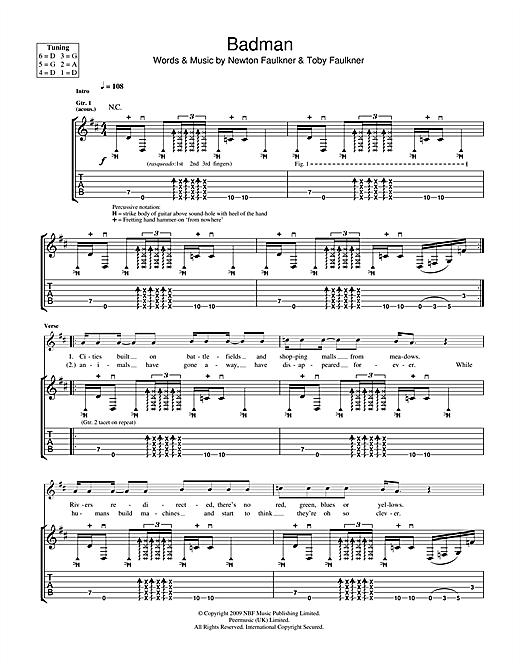 Newton Faulkner Badman sheet music notes and chords. Download Printable PDF.