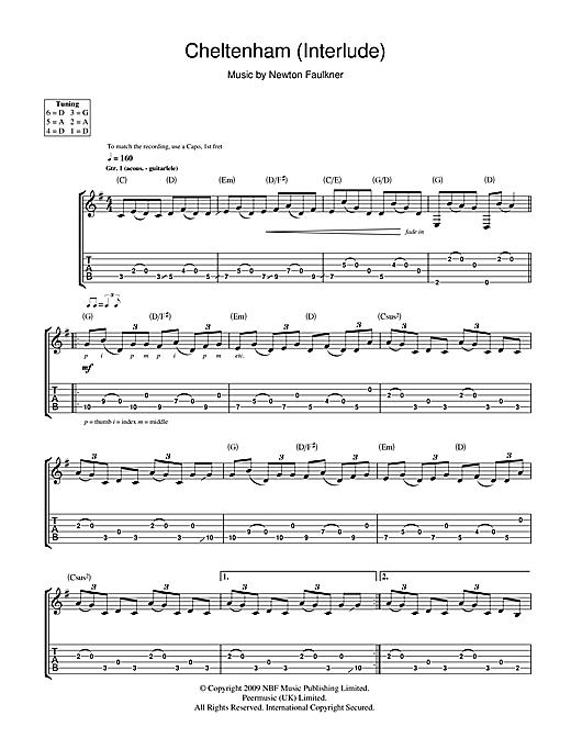 Newton Faulkner Cheltenham (Interlude) sheet music notes and chords. Download Printable PDF.