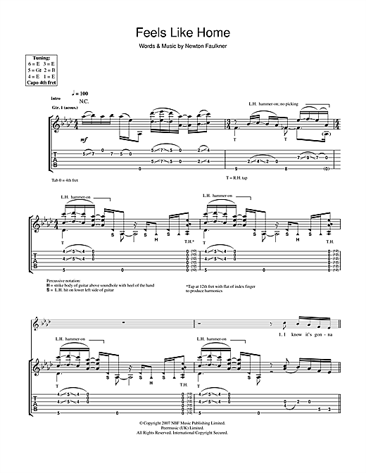 Newton Faulkner Feels Like Home sheet music notes and chords