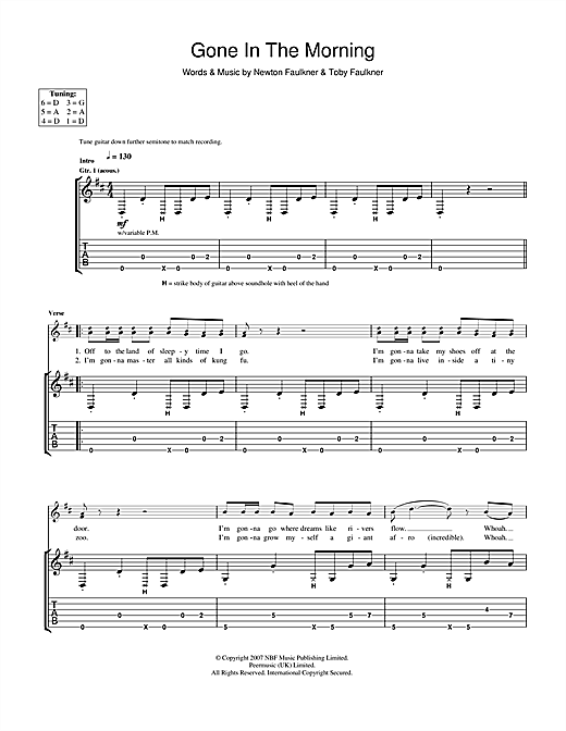 Newton Faulkner Gone In The Morning sheet music notes and chords. Download Printable PDF.