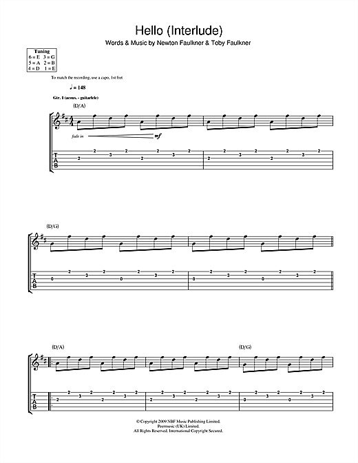 Newton Faulkner Hello (Interlude) sheet music notes and chords. Download Printable PDF.