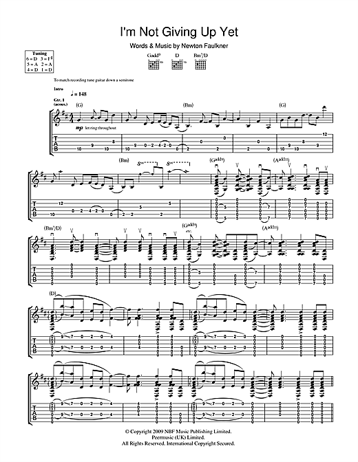 Newton Faulkner I'm Not Giving Up Yet sheet music notes and chords. Download Printable PDF.