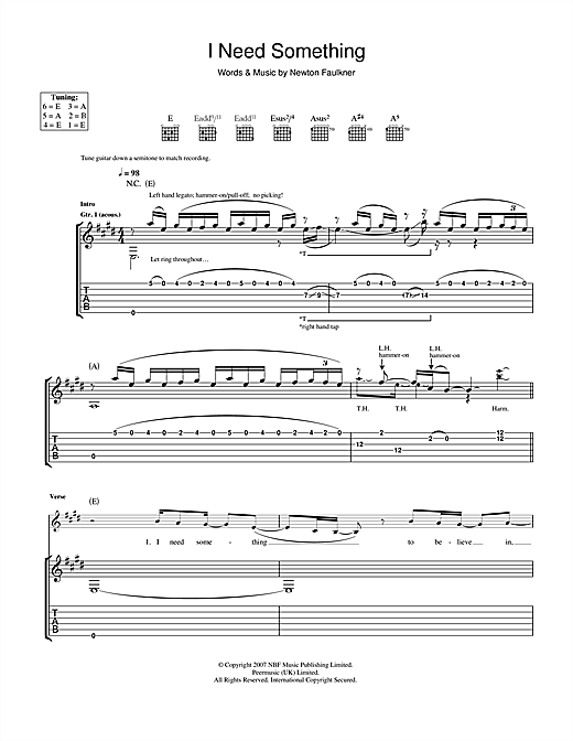 Newton Faulkner I Need Something sheet music notes and chords