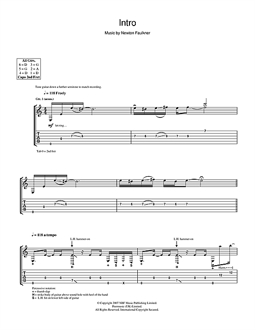 Newton Faulkner Intro sheet music notes and chords