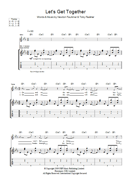 Newton Faulkner Let's Get Together sheet music notes and chords. Download Printable PDF.