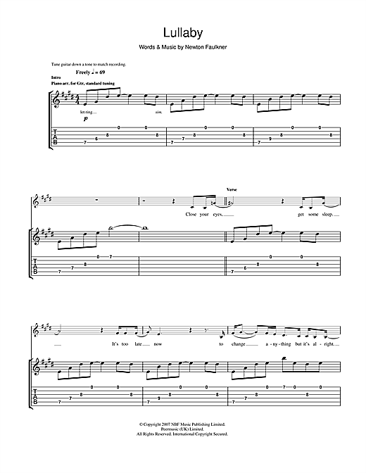 Newton Faulkner Lullaby sheet music notes and chords. Download Printable PDF.