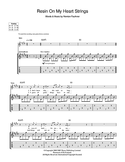 Newton Faulkner Resin On My Heart Strings sheet music notes and chords. Download Printable PDF.