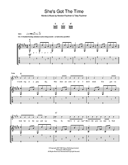 Newton Faulkner She's Got The Time sheet music notes and chords. Download Printable PDF.