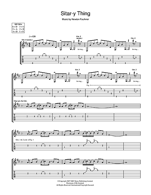Newton Faulkner Sitar-y Thing sheet music notes and chords. Download Printable PDF.