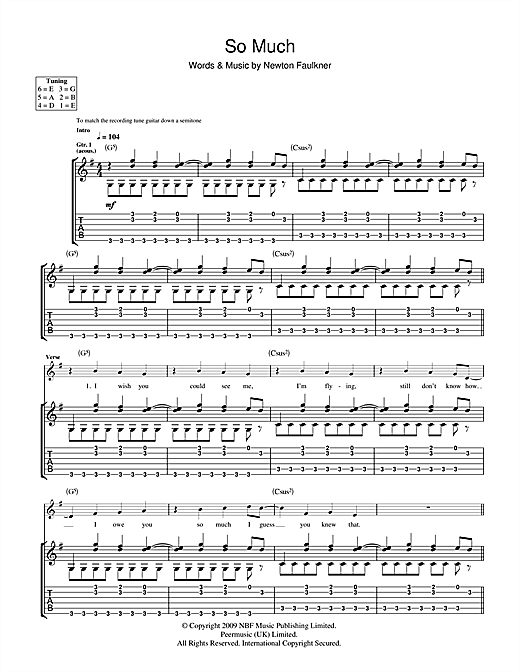 Newton Faulkner So Much sheet music notes and chords. Download Printable PDF.