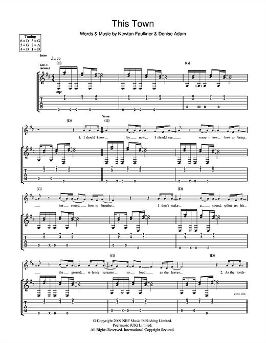 Newton Faulkner This Town sheet music notes and chords. Download Printable PDF.