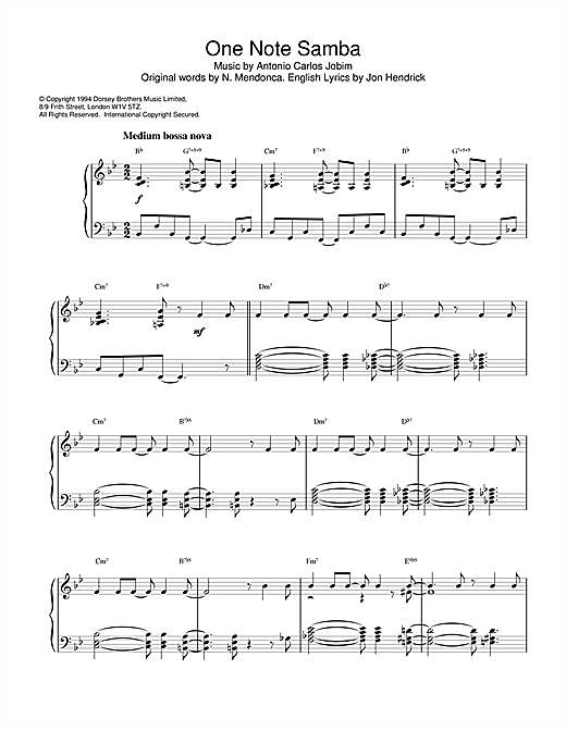 Newton Mendonca One Note Samba sheet music notes and chords