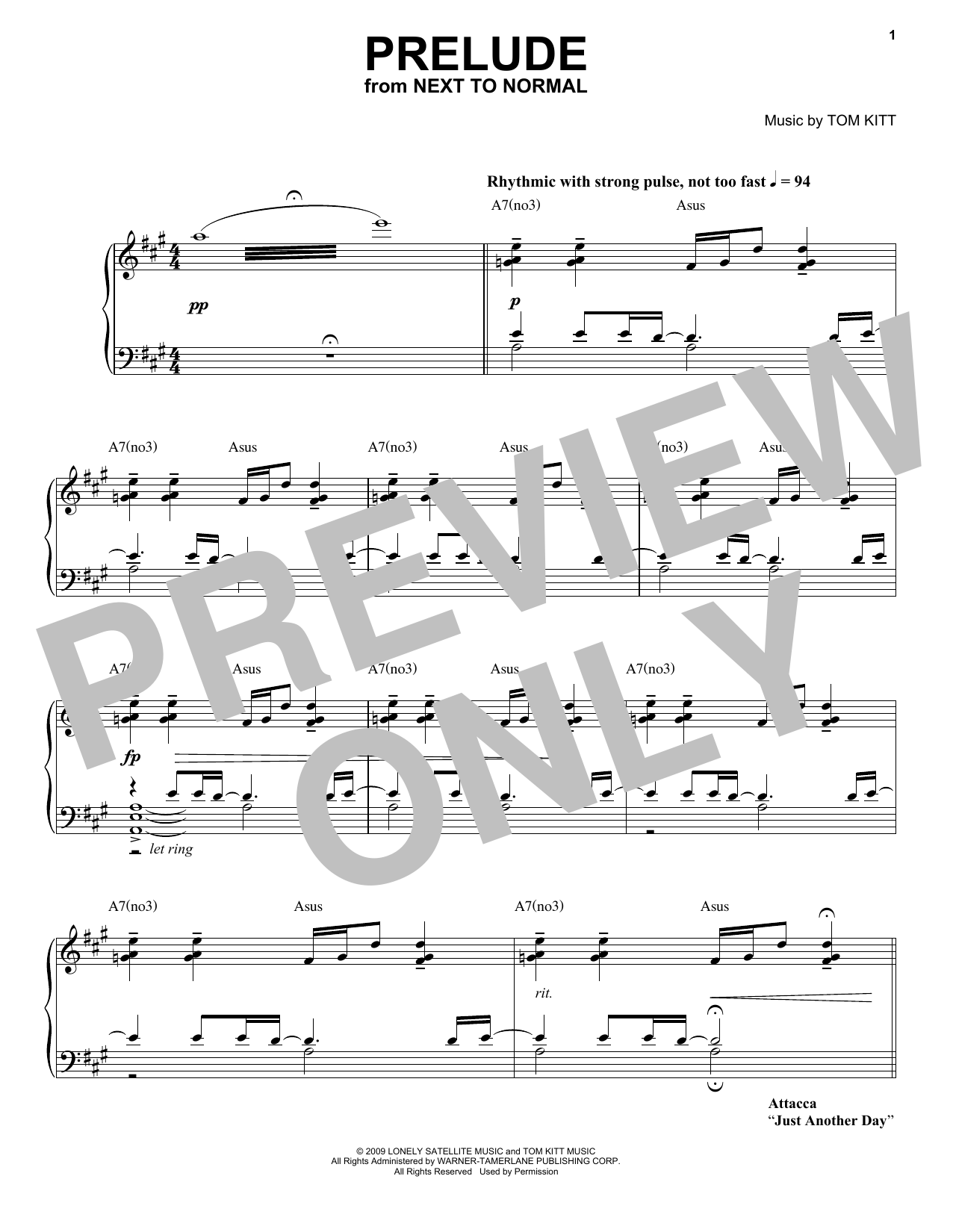 Next to Normal Band Prelude (from Next to Normal) sheet music notes and chords. Download Printable PDF.