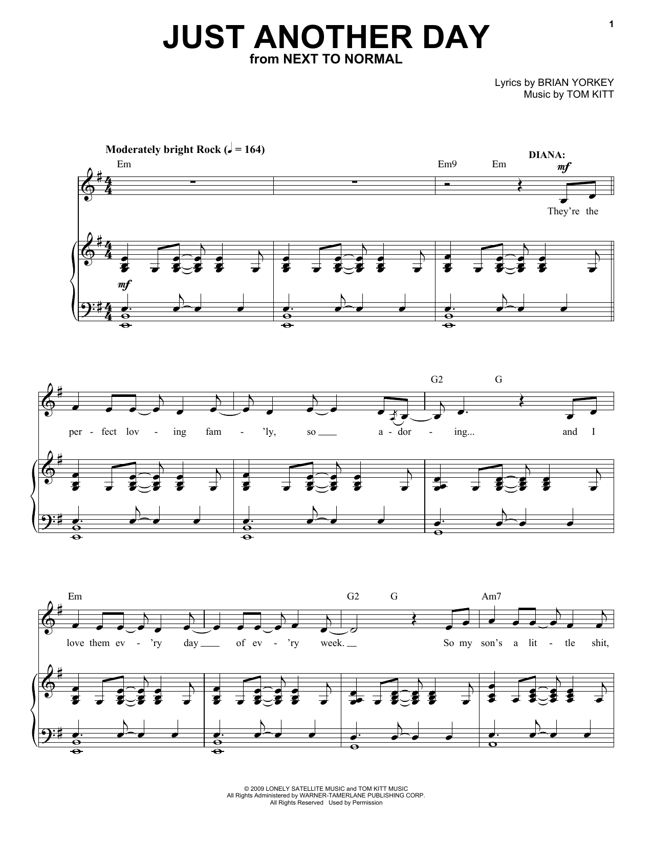 Next to Normal Cast Just Another Day (from Next to Normal) sheet music notes and chords. Download Printable PDF.