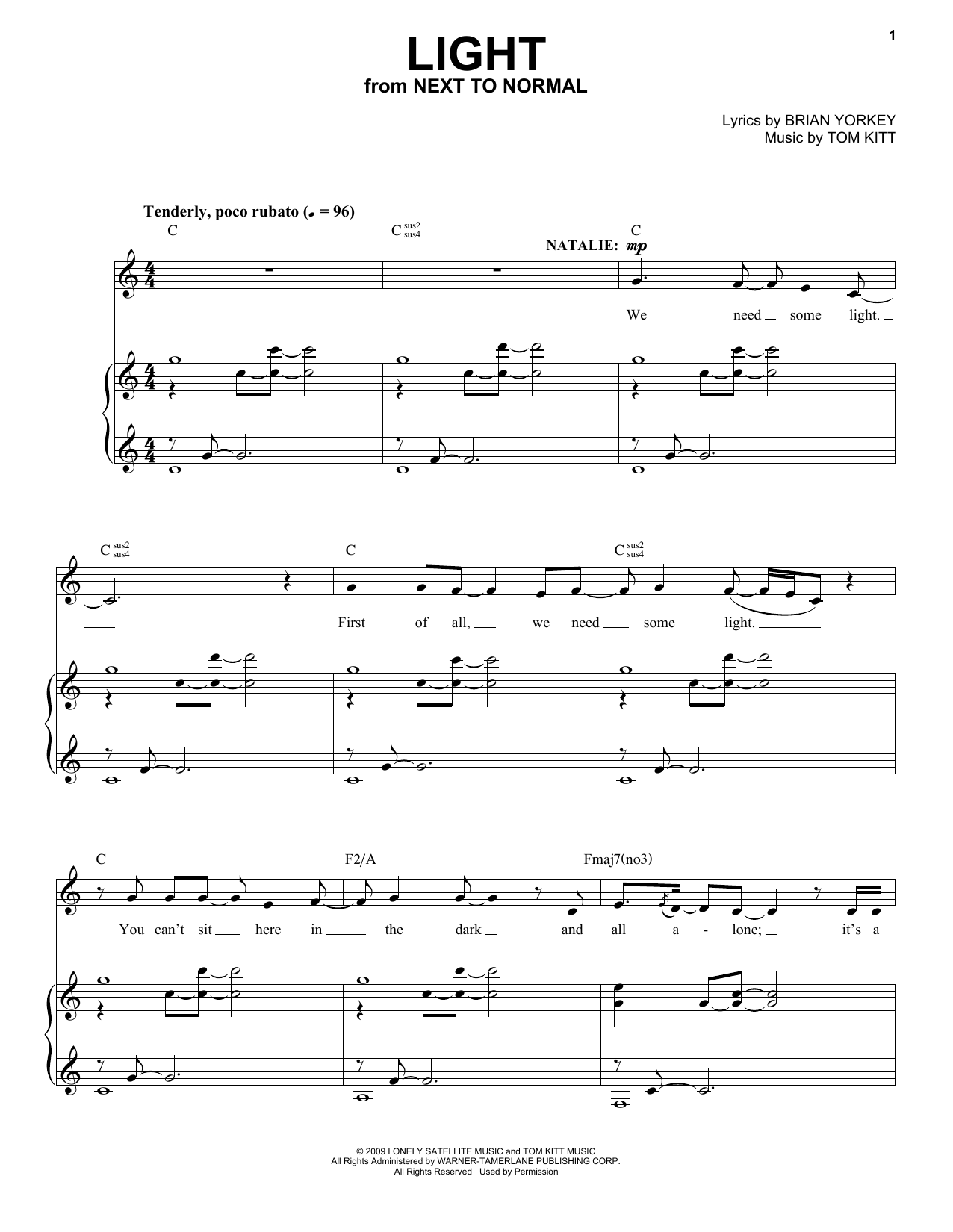 Next to Normal Cast Light (from Next to Normal) sheet music notes and chords. Download Printable PDF.