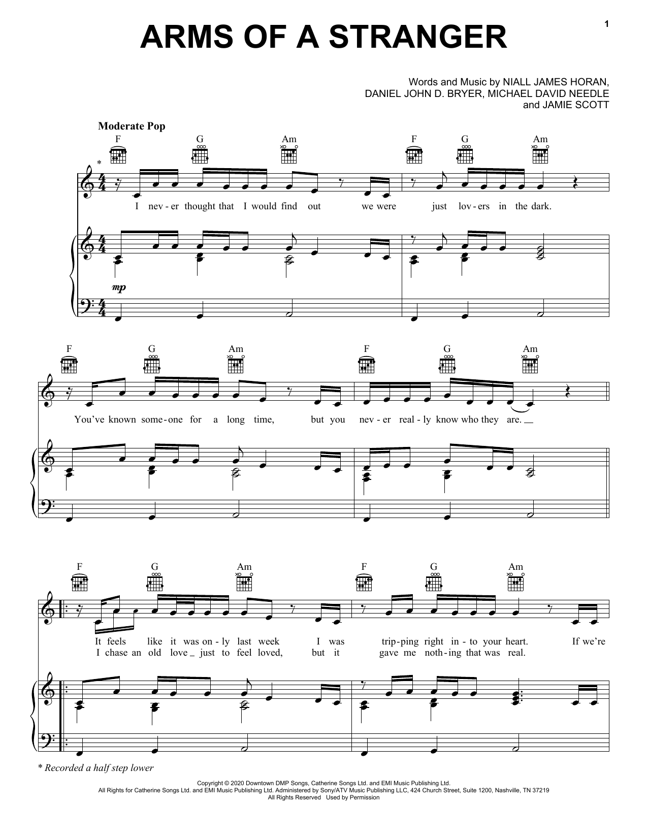 Niall Horan Arms Of A Stranger sheet music notes and chords. Download Printable PDF.