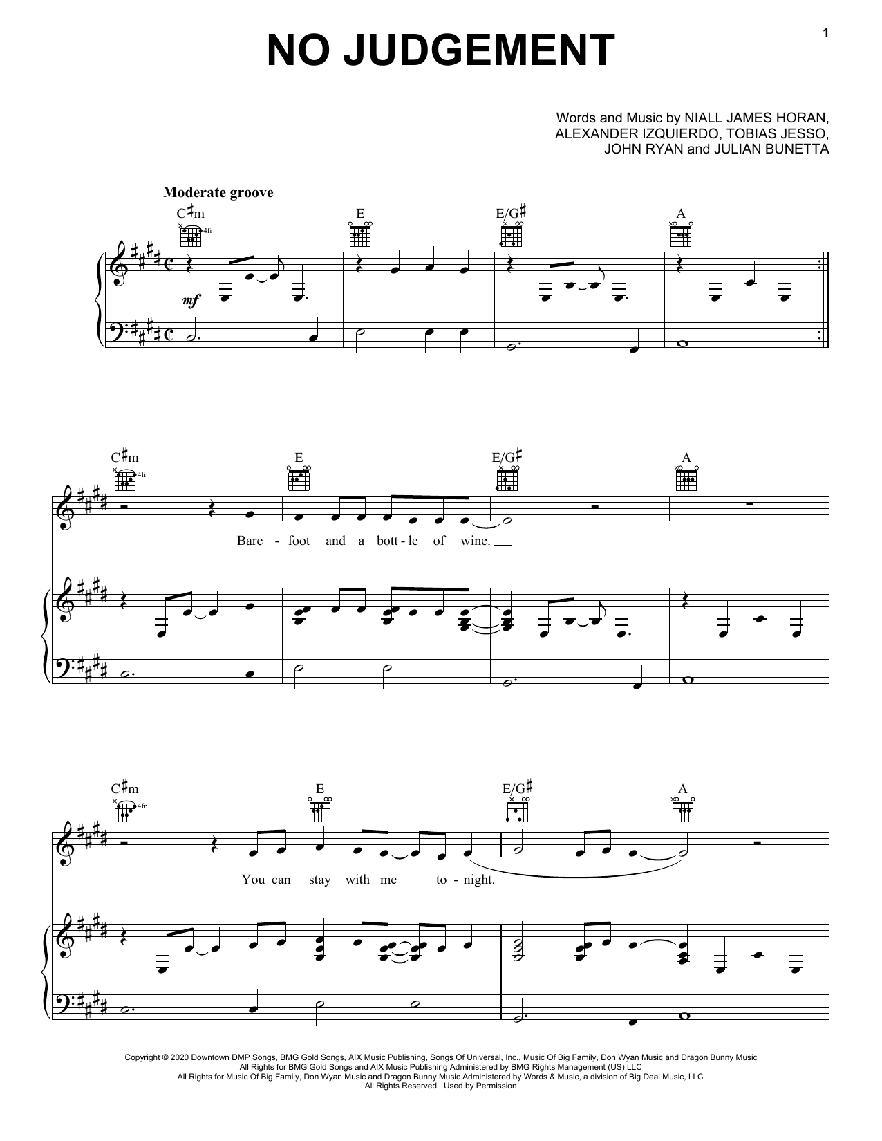 Niall Horan No Judgement sheet music notes and chords. Download Printable PDF.