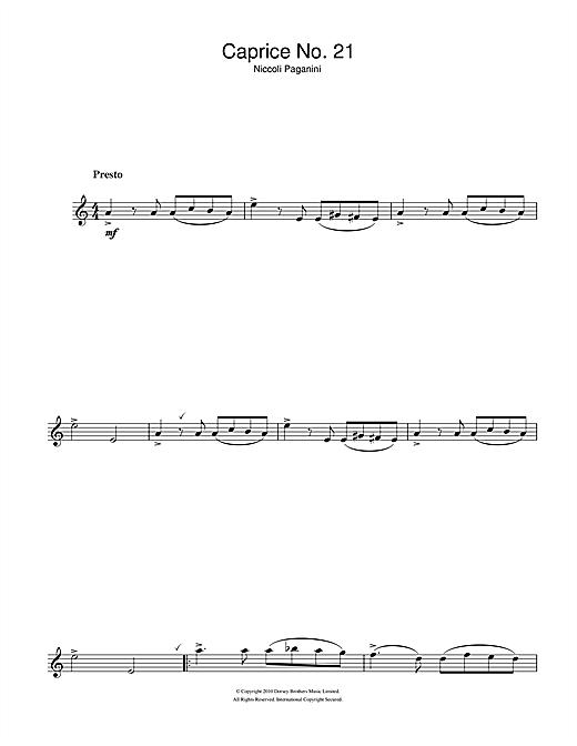 Niccolo Paganini Caprice No. 21 sheet music notes and chords. Download Printable PDF.