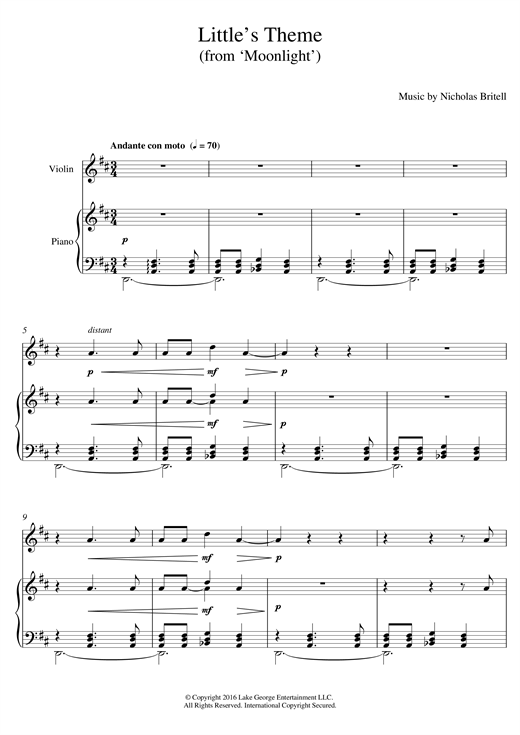 Nicholas Britell Little's Theme (from 'Moonlight') sheet music notes and chords